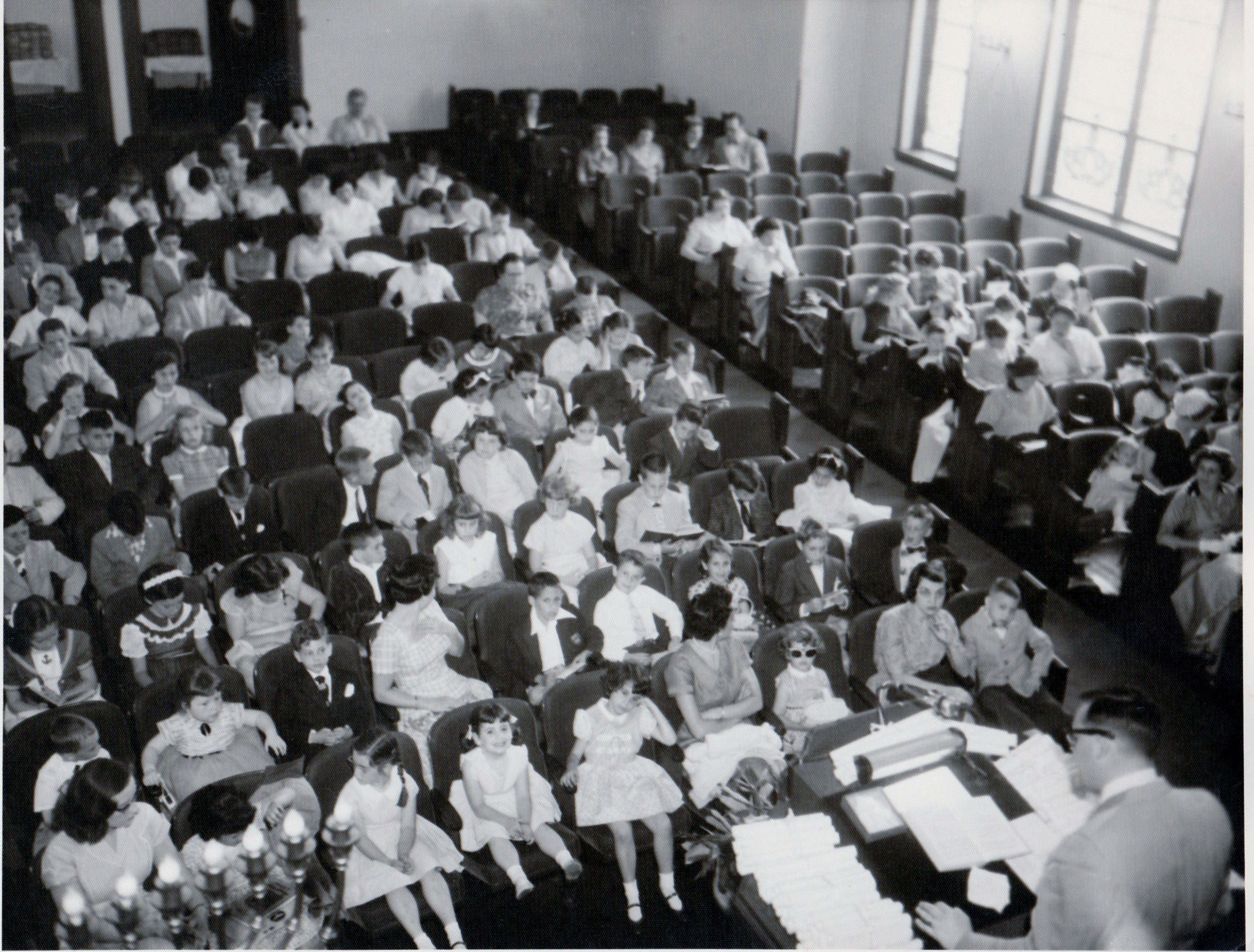 1955 circa  Relgious School service with Rabbi Sanderson view 2