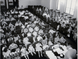 1955 circa  Relgious School service with Rabbi Sanderson view 2