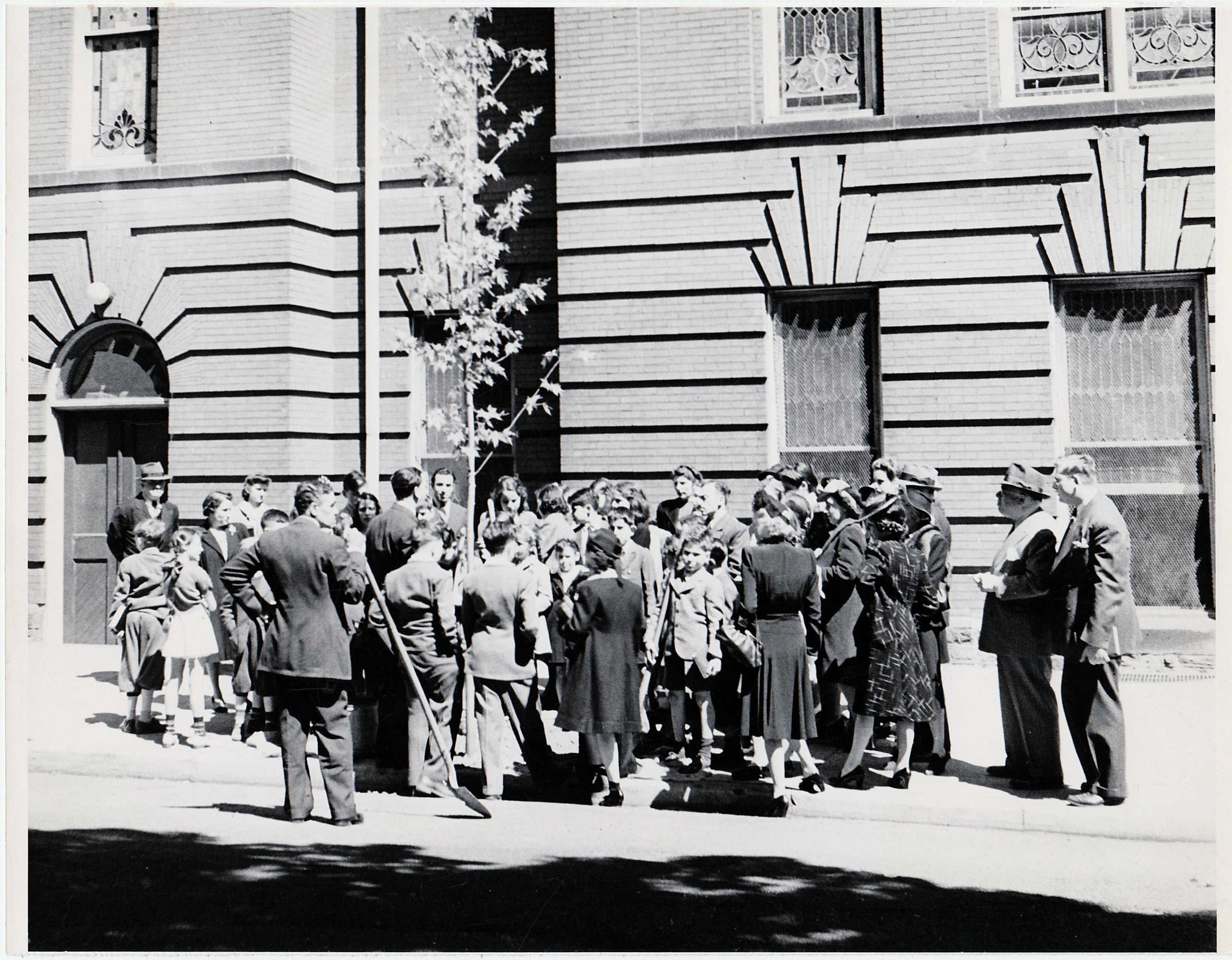 1940 Planting trees along James St. Rabbi Davis, view 1 note old James Street entrance