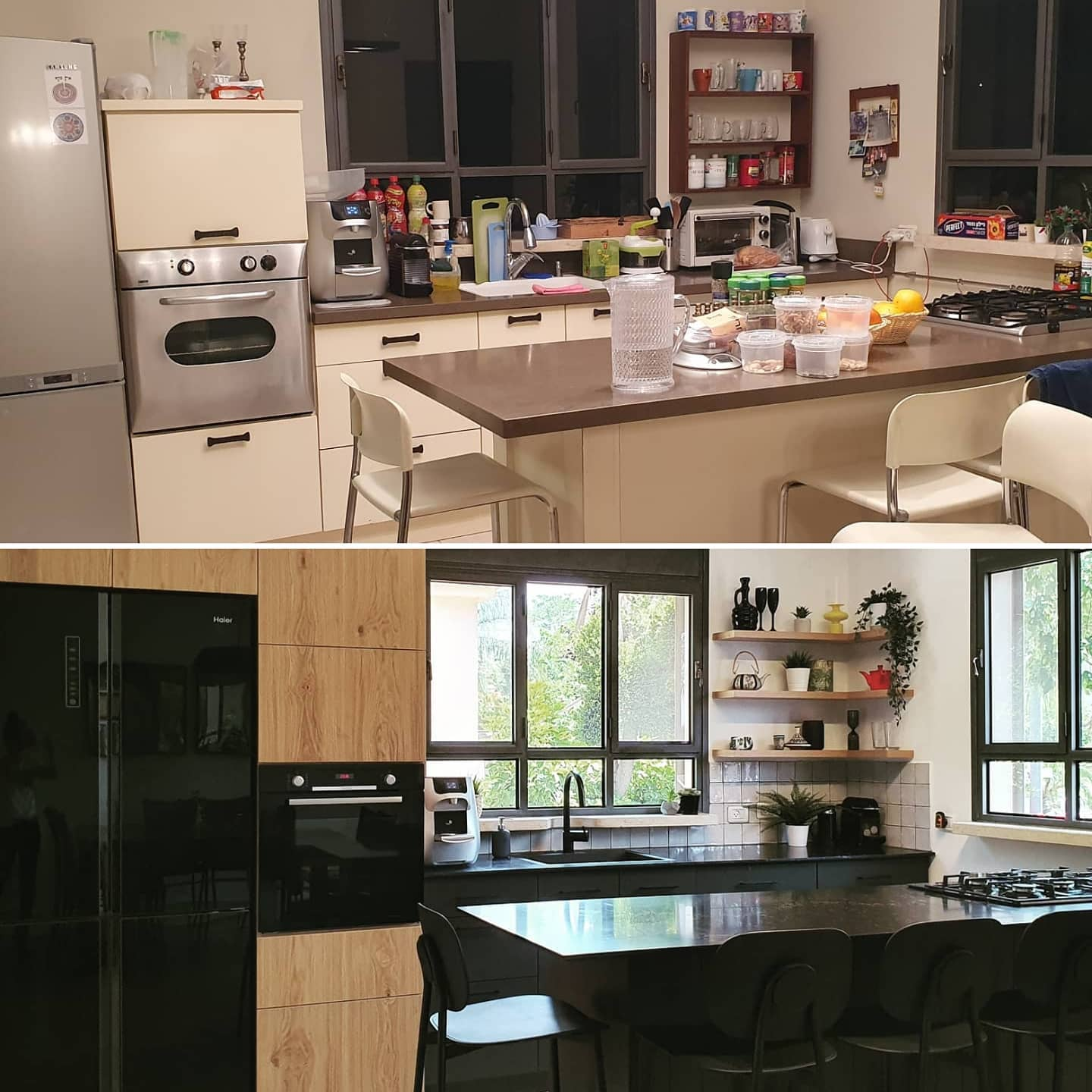 Black & Wood Kitchen-Before & After