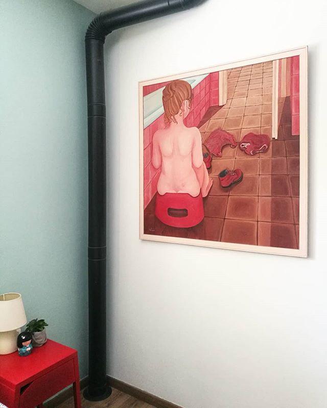 פינה בחדר שינה, ציור שמן מקורי של נורית