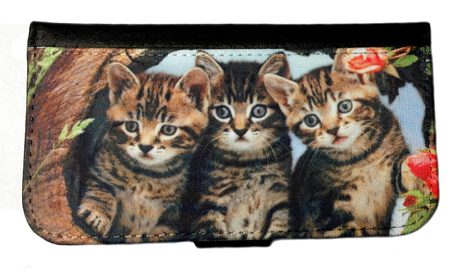 3 CUTE KITTENS IPHONE OR GALAXY CELL PHONE CASE WALLET WALLET
