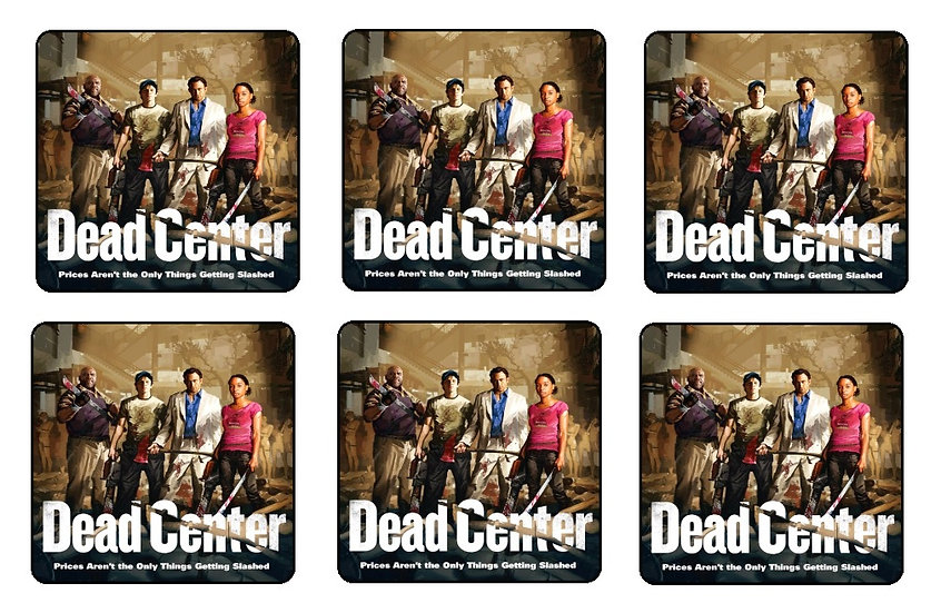 LEFT 4 DEAD DEAD CENTER BEVERAGE COASTERS