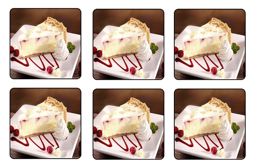 CHEESECAKE BEVERAGE COASTERS