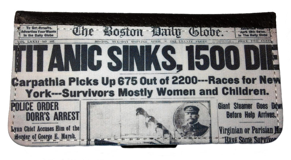 TITANIC NEWSPAPER CLIPPING IPHONE OR GALAXY CELL PHONE CASE WALLET