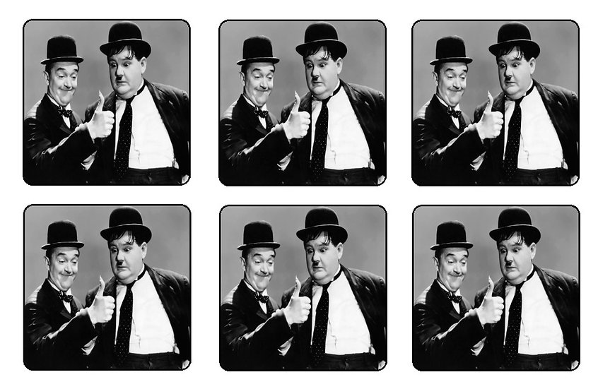 LAUREL AND HARDY BEVERAGE COASTERS
