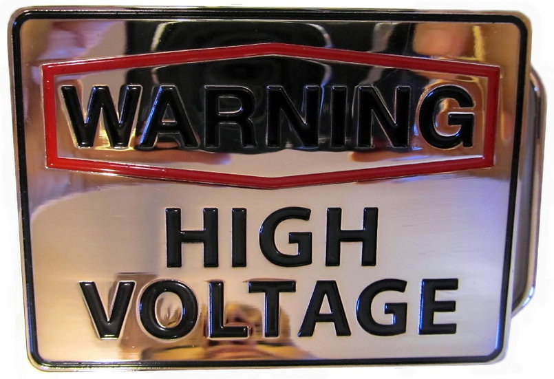 WARNING HIGH VOLTAGE BELT BUCKLE
