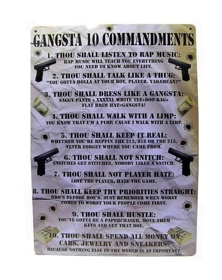 GANGSTA 10 COMMANDMENTS - TIN SIGN
