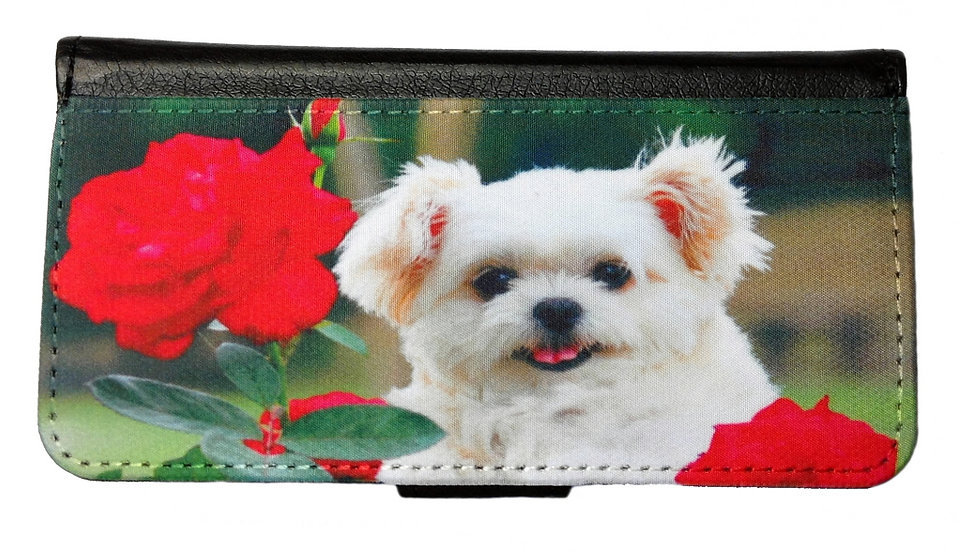 CUTE PUPPY WITH RED ROSE IPHONE OR GALAXY CELL PHONE CASE WALLET WALLET