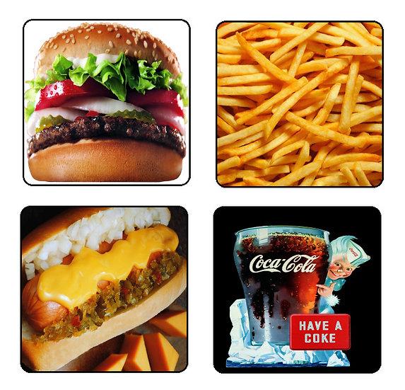 FAST FOODS BEVERAGE COASTERS