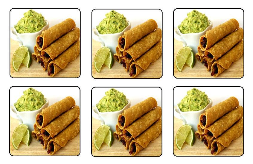 TAQUITOS DINNER BEVERAGE COASTERS