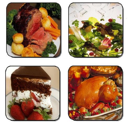 POT ROAST & TURKEY DINNER BEVERAGE COASTERS