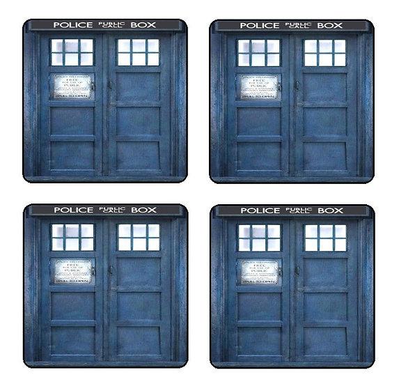 DOCTOR WHO TARDIS BEVERAGE COASTERS