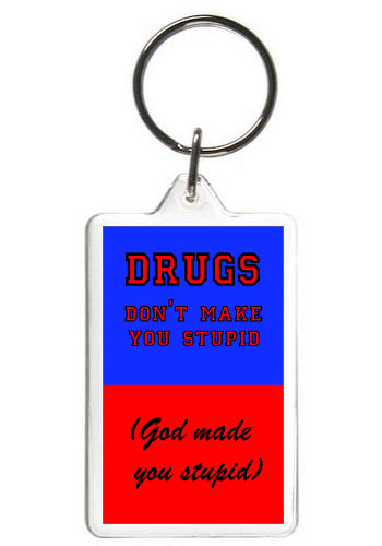 DRUGS DON'T MAKE YOU STUPID - KEY CHAIN