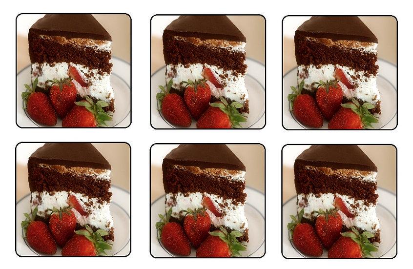 CHOCOLATE STRAWBERRY CAKE BEVERAGE COASTERS