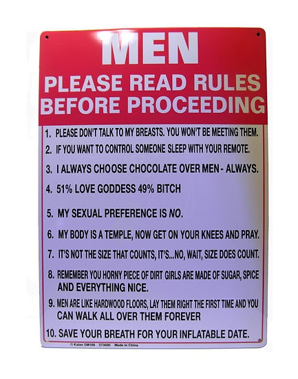MEN PLEASE READ RULES - TIN SIGN