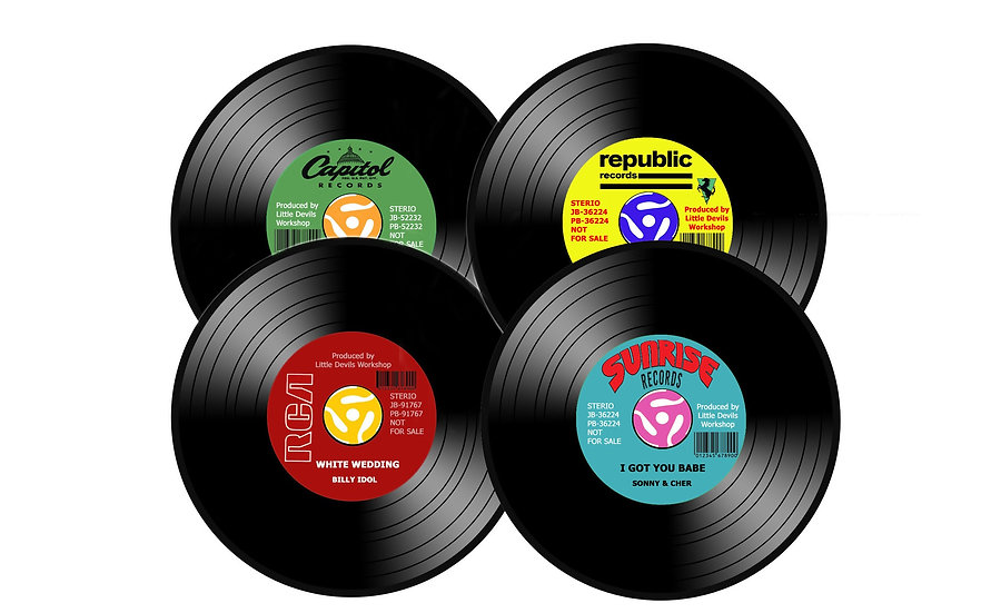 4 PK RETRO 45 VINYL RECORDS BEVERAGE COASTERS