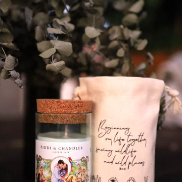 Wedding candles made by Unwined Candle Company. All funds go towards helping care for the animals at Australia Zoo.