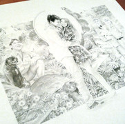 Pencil work of the wedding invitation design for Bindi & Chandler