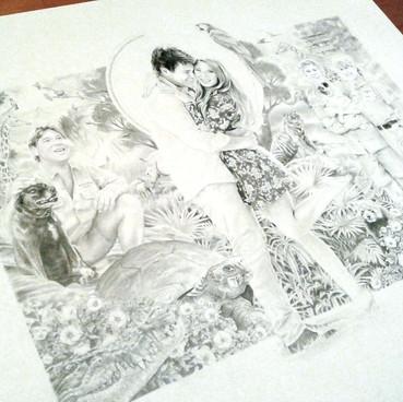Pencil work of the wedding invitation design for Bindi & Chandler