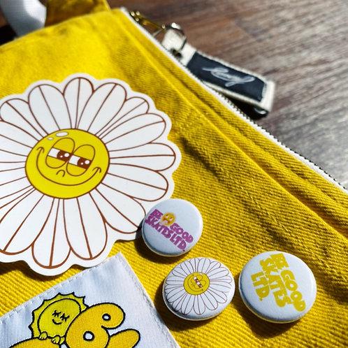 Be Good Skates pin badge & sticker set