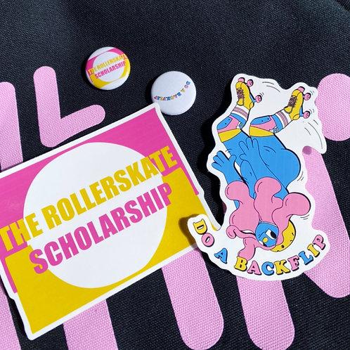Rollerskate Scholarship Backflip badge & sticker pack.
