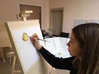 На уроке живописи. Преподаватель: Людмила Александровна Гаврилова