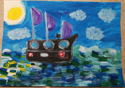 Корабль в море. Цветкова Варвара, 5 лет, III премия