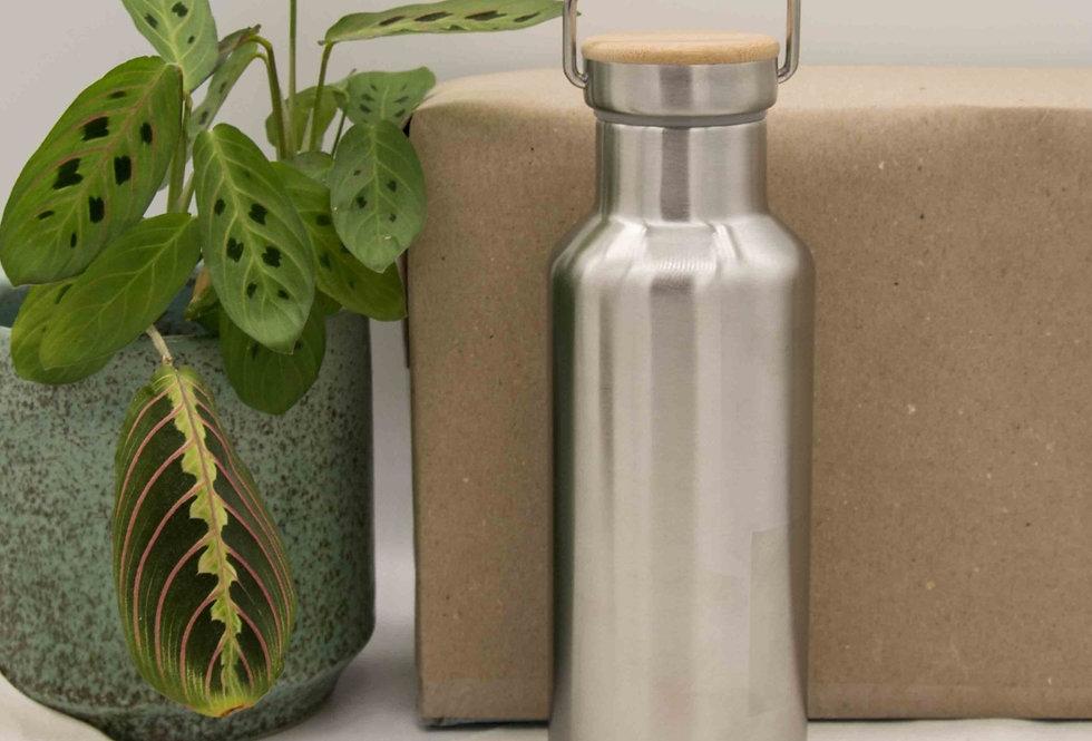Μπουκάλι ισοθερμικό ανοξείδωτο με λαβή και ξύλινο καπάκι 500ml