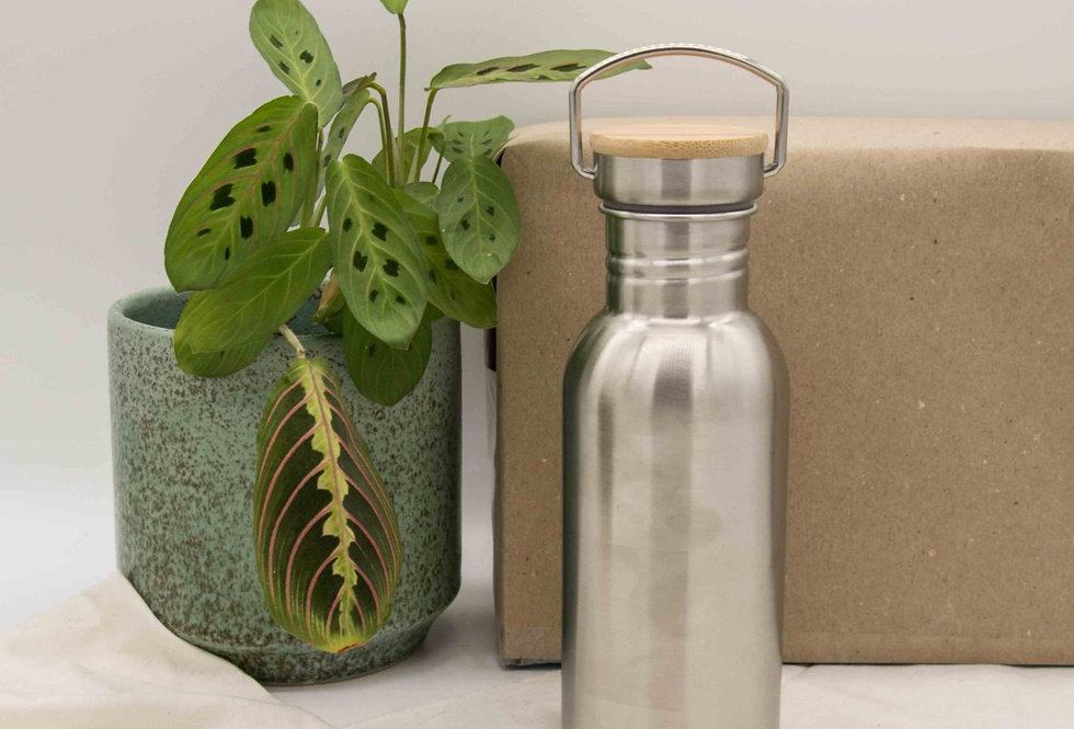 Μπουκάλι ανοξείδωτο με ξύλινο καπάκι 500ml