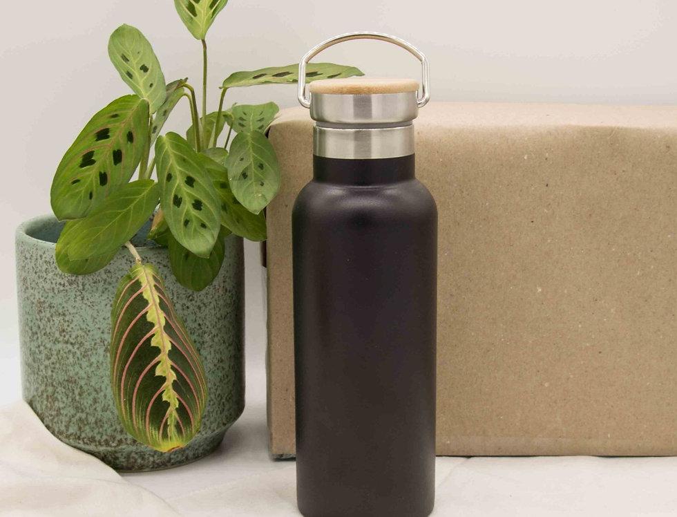 Μπουκάλι ισοθερμικό ανοξείδωτο με ξύλινο καπάκι μαύρο 500ml