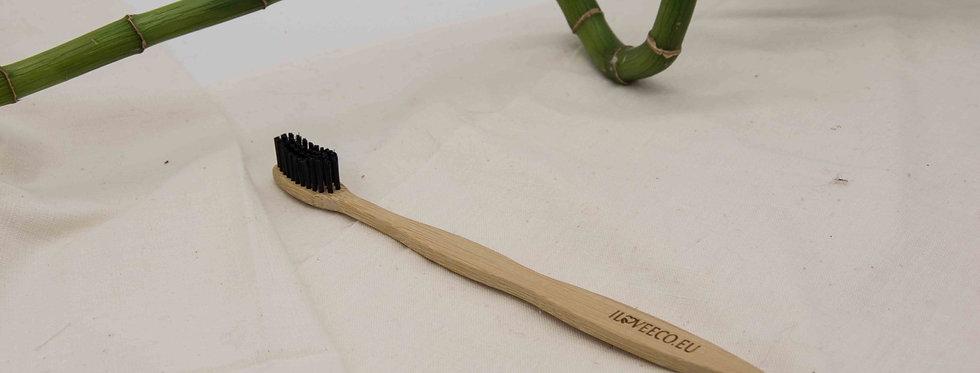 Οδοντόβουρτσα από μπαμπού Super Black Medium/Soft με κυματιστή κεφαλή
