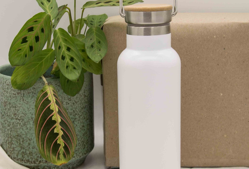 Μπουκάλι ισοθερμικό ανοξείδωτο με ξύλινο καπάκι λευκό 500ml