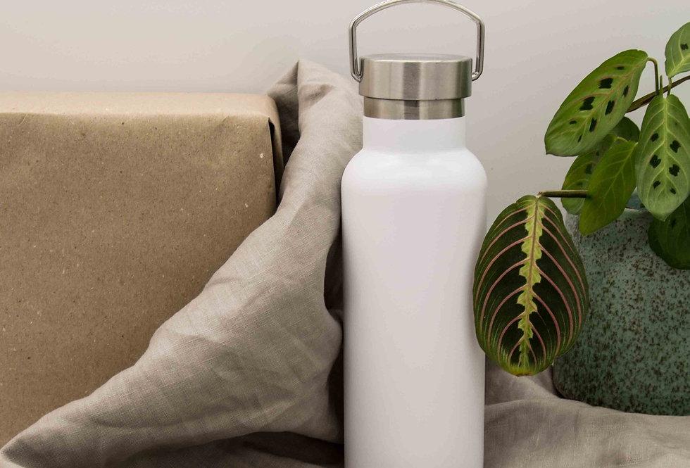 Μπουκάλι ισοθερμικό ανοξείδωτο με λαβή λευκό 500ml