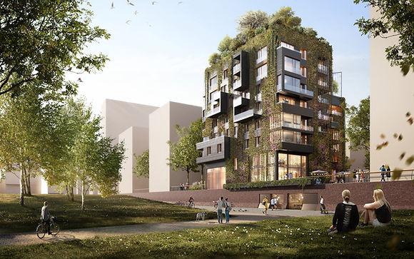 Visualisierung We-House Baakenhafen Hafencity Hamburg, 1. Preis Realisierungswettbewerb ausgelobt durch Archy Nova Projektentwicklung GmbH mit DeepGreen Development GmbH