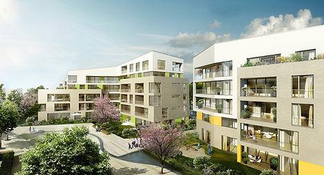 Visualisierung des Wohnquartiers Sonnenhöfe Uffhauser Straße in Freiburg