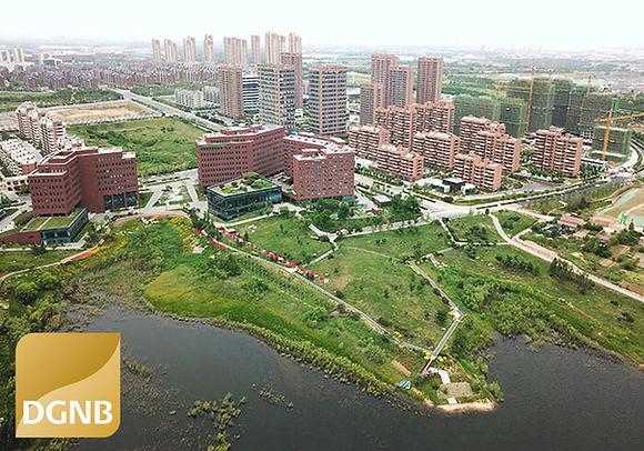 Luftbild mit DGNB Gold Zertifizierung vom Ökopark Qingdao in China