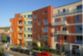 Ansicht des Stadthauses Maison.Verte in Freiburg Vauban, Baugemeinschat im Wohnquartier Freivurg V8