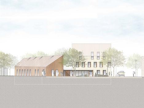 Entwurfsansicht der neuen Ortsmitte Simmersfeld, 4. Preis Architekturwettbewerb