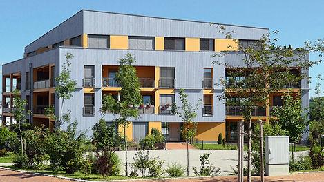 Ansicht Planetenhaus im ecoQuartier in der Ludwig-Hirschberger-Allee in Pfaffenhofen, Mehrfamilienhaus, Holzbauweise