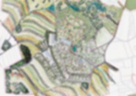 Handgezeichnete Planung für das Permakulturdorf Linden bei Prag in Tschechien