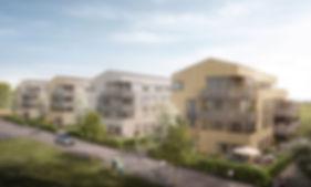 Visualisierung Gebäudeensemble Hornbühl-Ost in Freiburg, Mehrfamilienhäuser für die Gisinger Gruppe