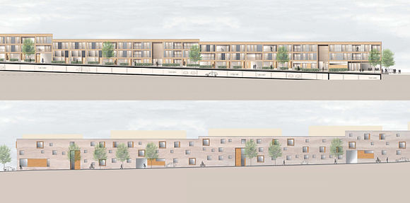 Entwurfsansicht Minimalhäuser aus Holz Rote Wand Stuttgart Killesberg