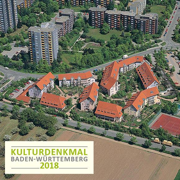 Luftbild des Kulturdenkmals Ökosiedlung Schafbrühl in Tübingen