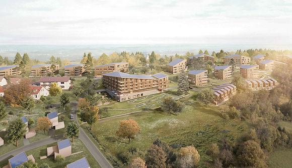 Visualisierung Neubebauung Nadenberg mit JUFA Hotel in Lindenberg
