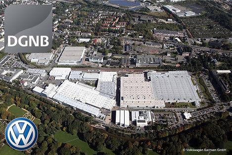 Luftbild des VW Motorenwerks Chemnitz mit DGNB Zertifikat