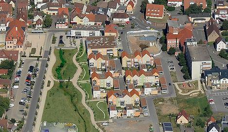 Luftbild der städtebaulichen Entwicklung des Amann-Areals am Schloss Bönnigheim