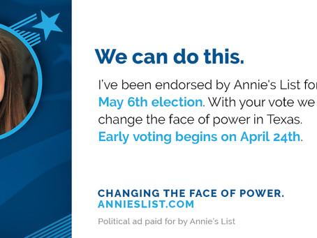 Endorsement by Annie's List