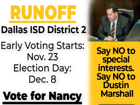 Dallas ISD Runoff in District 2 - Early Voting Starts Tomorrow!