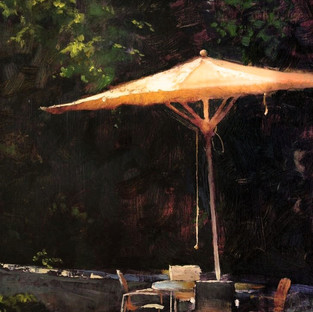 """Marc Anderson, """"The Meeting Place,"""" 2018, oil on board, 15-5/8 x 16-5/8 x 7/8 inches  Collection Cedarburg Art Museum, Ozaukee Bank Gift to the Future Fund, 2018.07"""